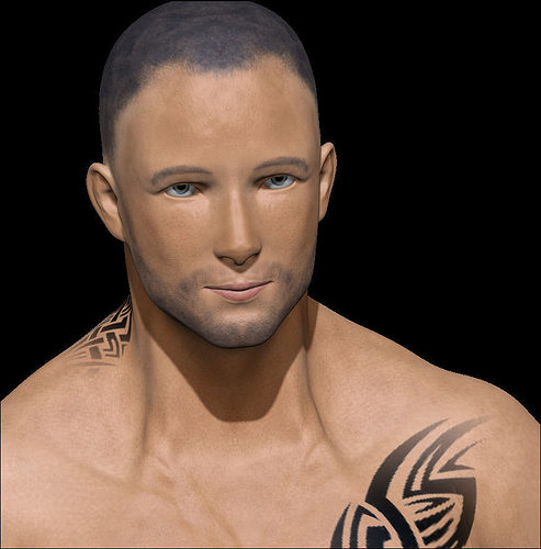 Male Low Poly Ready With Tattoos 3D Asset CGTrader