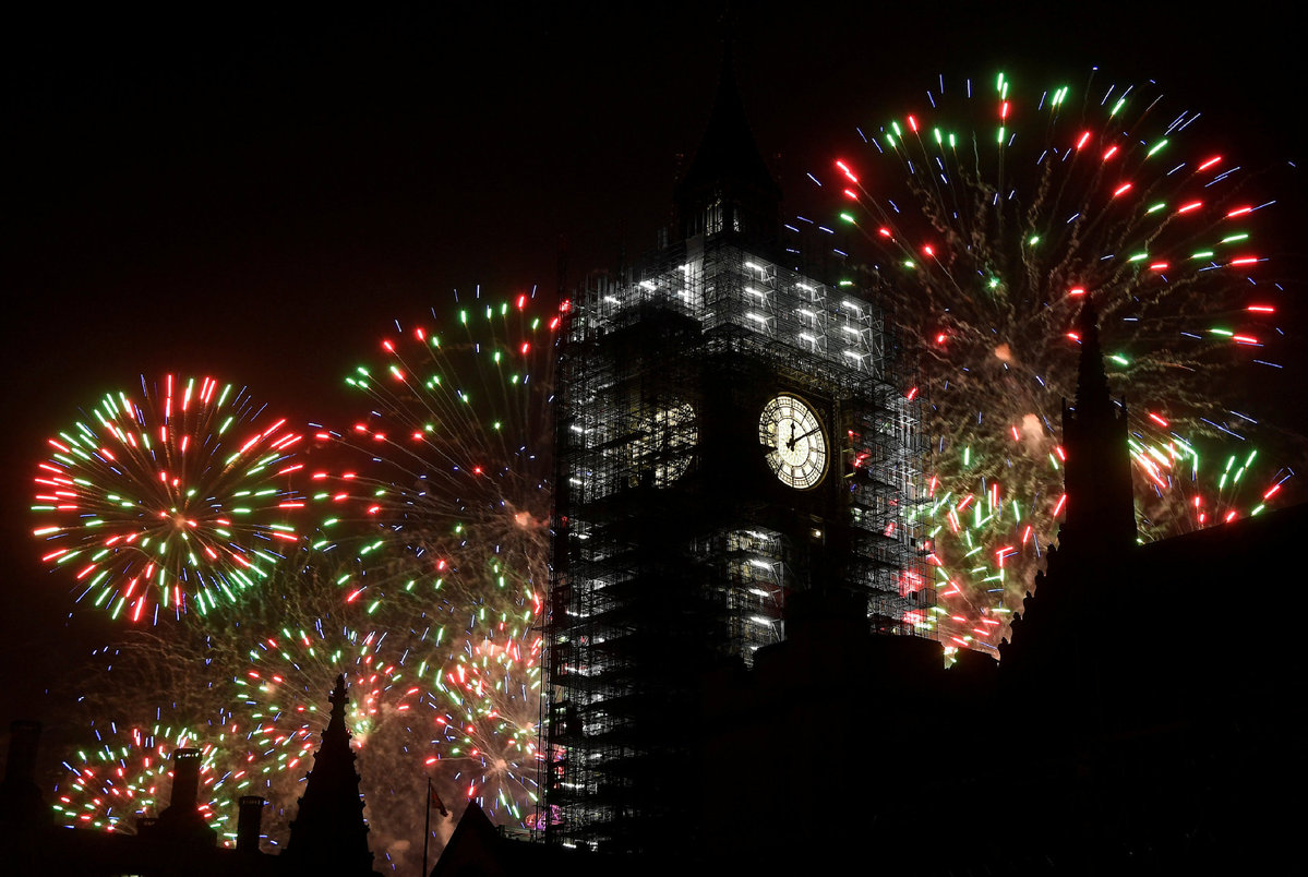 UK s Chinese New Year celebrations taking shape   EUROPE     Fireworks explode behind the Elizabeth Tower  commonly known as Big Ben   during New Year s Eve celebrations in London  Britain  January 1  2018