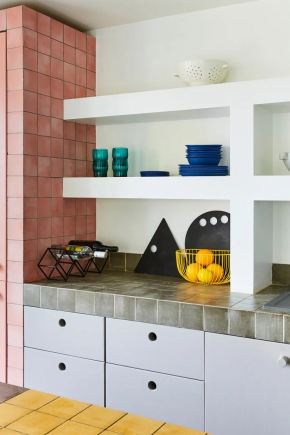 pink, gray, and yellow kitchen