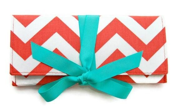 SALE Coral Chevron Stripe with Tiffany Blue ALEXIS Clutch Sale