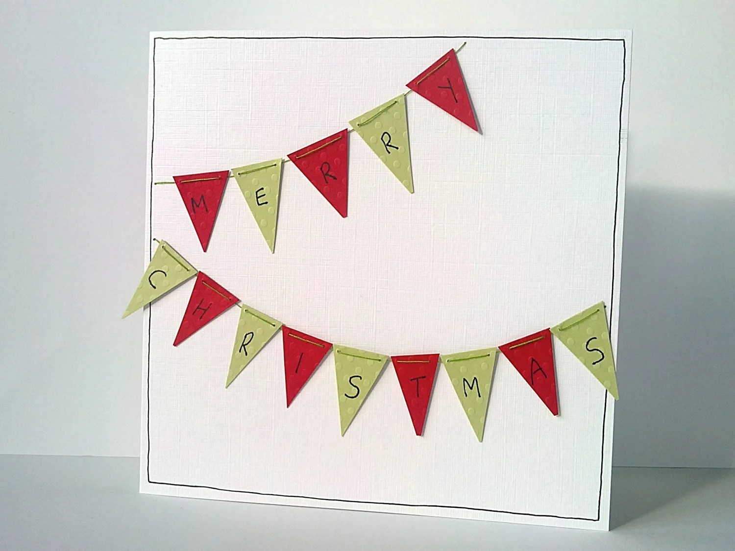 Set of 5 large Christmas cards with red and green bunting - handmade