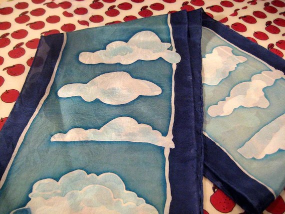 hand painted silk cloud scarf - crrysstall
