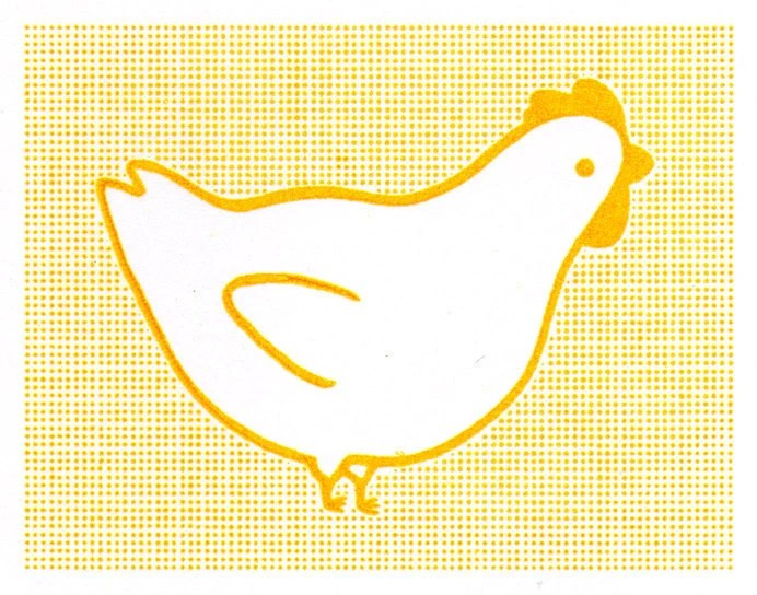 Chicken Notecards Set of Three Gocco Printed Cards - bubbledog