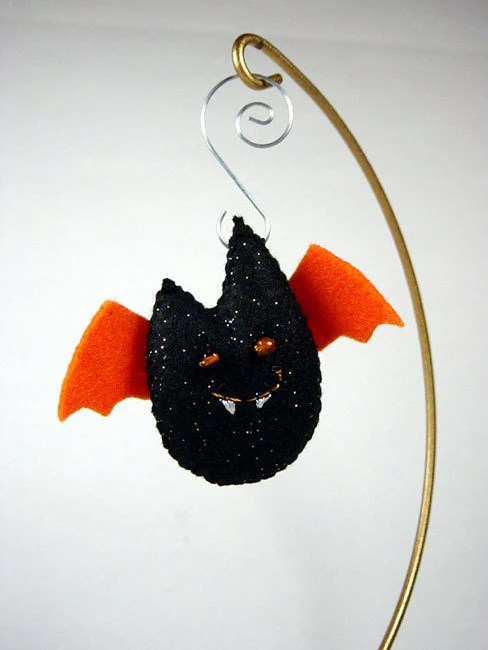 bat ornament - Batling - Sparkling Black with Orange - SWStitchery