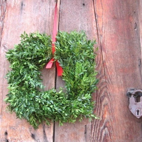 SQUARE BOXWOOD WREATH   fresh holiday greenery Smaller size - thekeepershouse