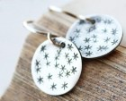 star earrings, sterling silver jewelry, stamped round discs, sky - ElisabethSpace