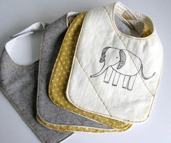organic baby bib (white elephant)