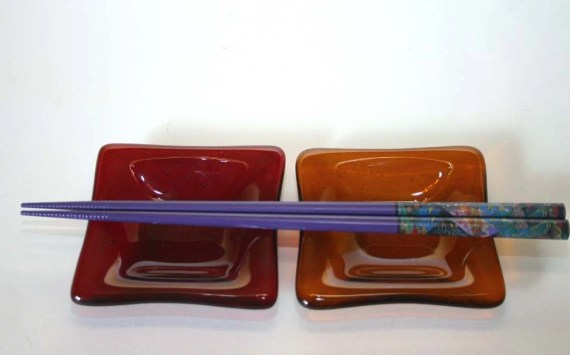 Amber and Garnet Petite Fused Glass Dishes...Set of 2 - Littlehandstudios