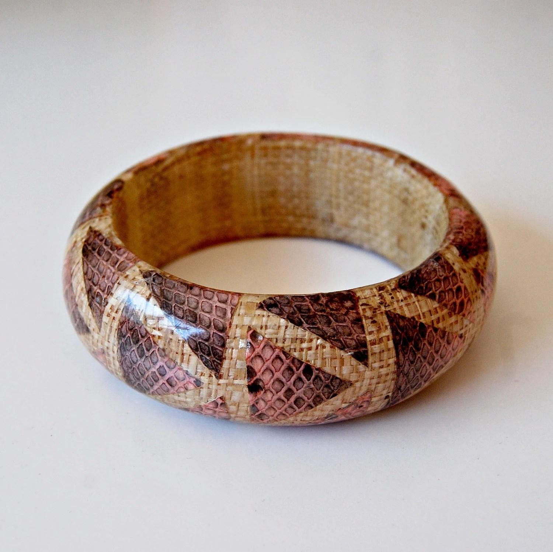 pink GEOMETRIC bracelet  / snakeskin TRIBAL chunky bangle - vintagemarmalade