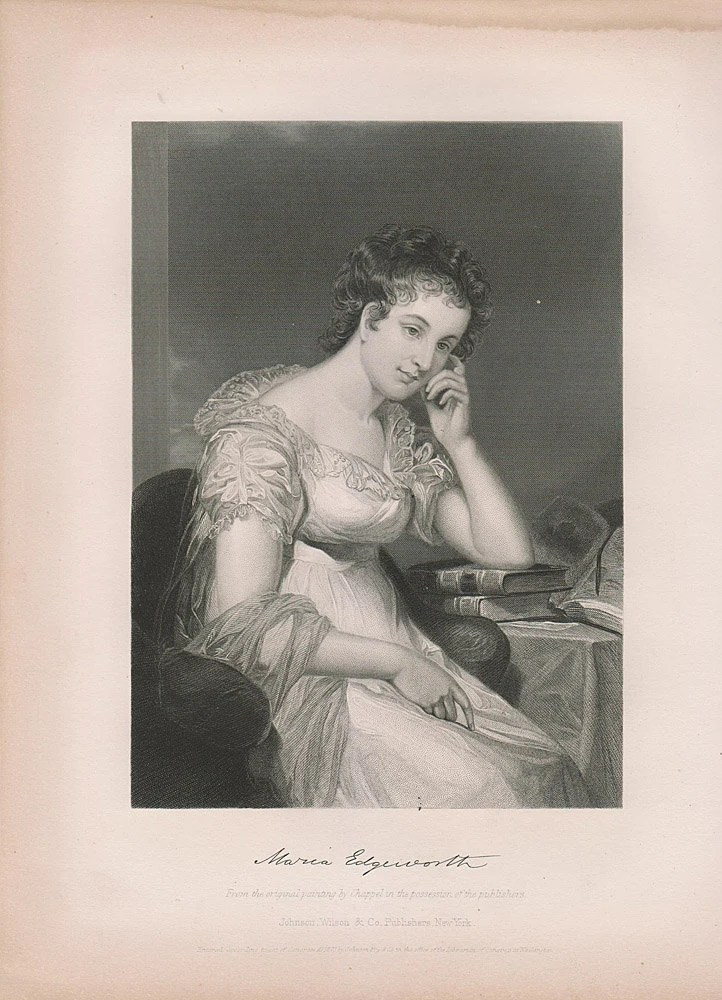 Antique Maria Edgeworth - Steel Engraving Portrait Print Book Plate