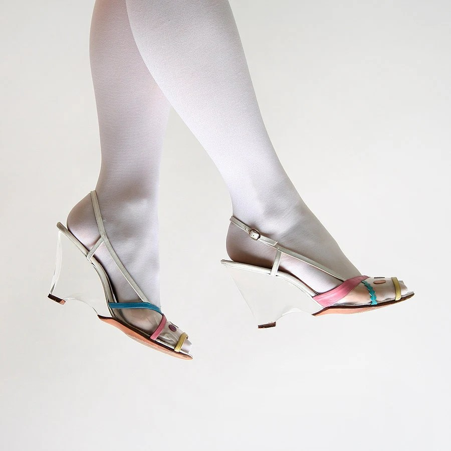 Vintage Clear Wedges - 1980s Jack Rogers White Lucite Heels - Size US 9 - zwzzy