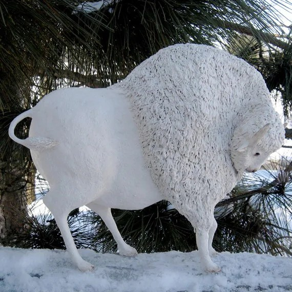White Buffalo Sculpture Original Bison Figurine