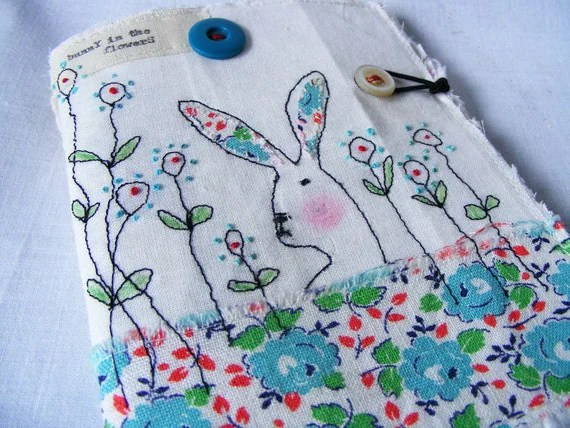 Handmade Needlecase or Needlebook : Bunny in the flowers