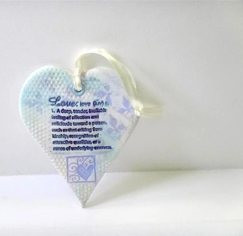 Texture  Heart Wall Hanging Decoration, Heart Ornament Shabby Chic in Lavender Purple and Ivory - efiwarsh