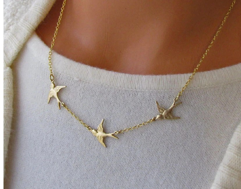 Golden Bird Trio Necklace Flying Swallows Three Birds In Flight Jewelry