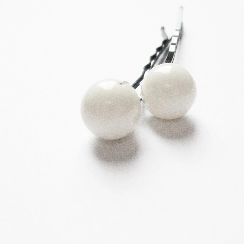Pearl Hair Pins - one pair of Large Ivory bobby pins (10 mm Swarovski pearls) Fashion Wedding Hair Accessory - embellishingyou