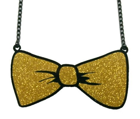 Glitzy, sparkly bow tie necklace (GOLD) - Littleclouds