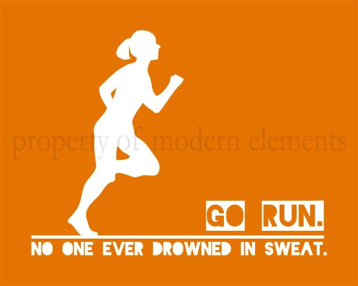 Printable Orange Running Art - No One Ever Drowned in Sweat - ModernElements