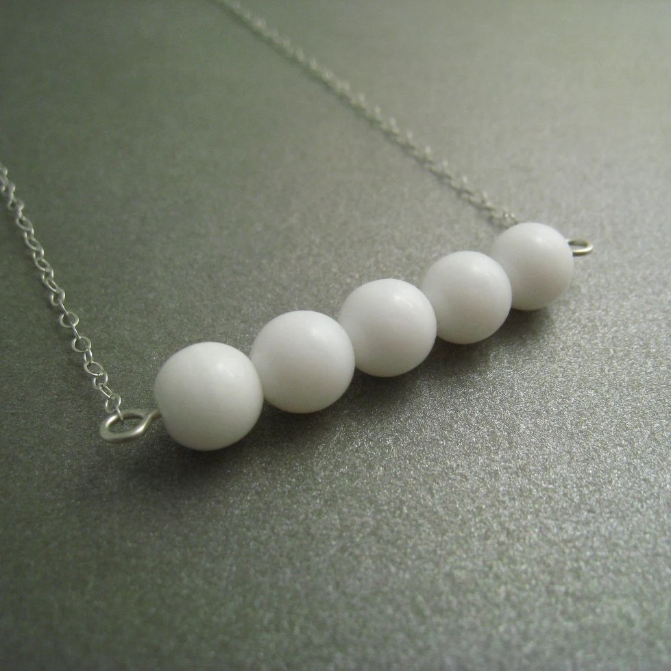 SALE - Sterling Silver Necklace - Round White Glass Beaded Pendant - Simple Modern Minimal Necklace - ModernChromatic