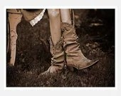 Southwest Photography, sepia, cowboy boots, girl, Heart of a Cowgirl fine art photography print 5x7 - moonlightphotography