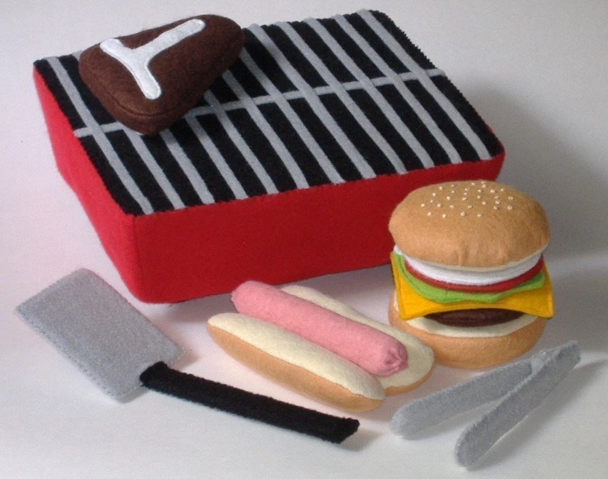 Felt Food Pattern - Backyard BBQ Play Set PDF Pattern Hot Dog, Hamburger, Steak, Grill and Accessories - GulfCoastCottagePDF