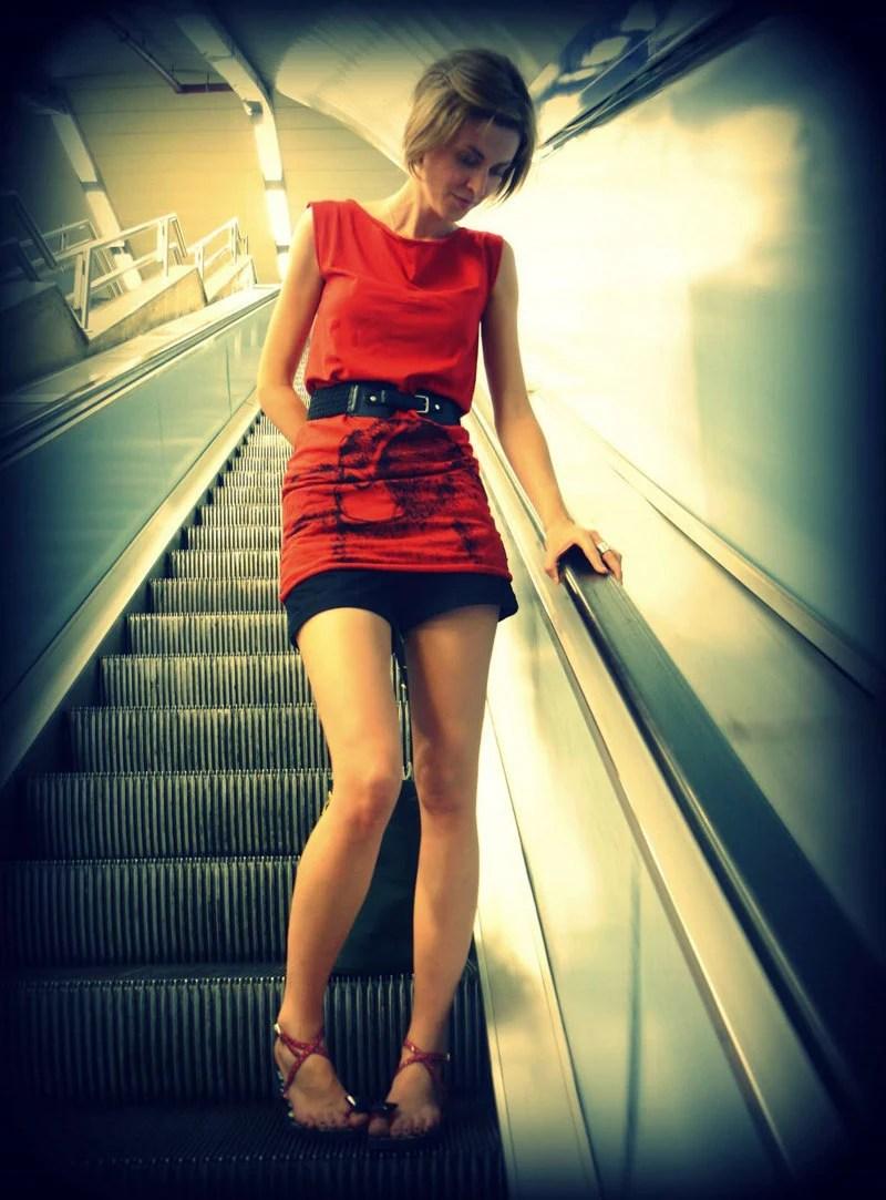 Monkey tshirt dress - eco-friendly black ink screenprint on red cotton - womens sizes S, M, L, XL - NYILLUSTRATION