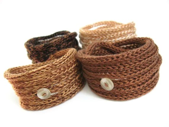 Knitted Cord Bracelets - Set of four in Chocolate and Caramel Brown Shades