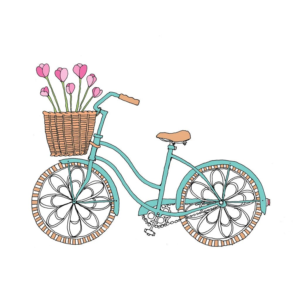 Tulip Bike - Easter or Spring Card - rachelink