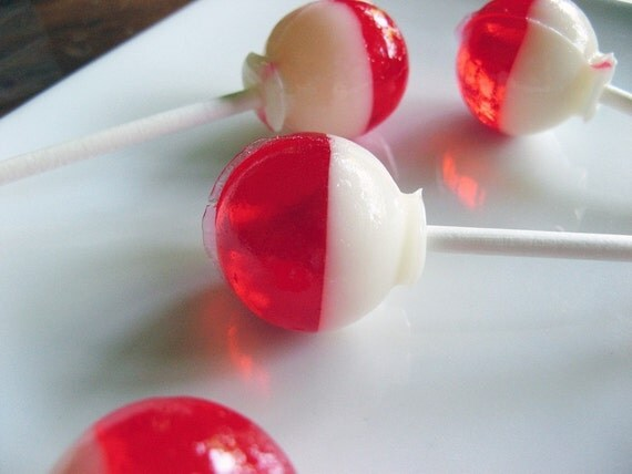 Cherry vanilla - bubble gum ball style hard candy lollipops - 6 pc. - MADE TO ORDER