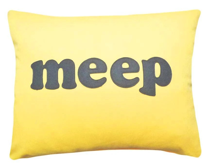 Bright Yellow Pillow, MEEP, Word Pillow, Kids Throw Pillows with Letters, Text, Customize Colors, Dorm, Childrens Decor 16x20 - PillowThrowDecor
