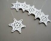 6 Christmas Ornaments -- Small Crochet Snowflake T13, in White - CaitlinSainio