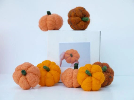 Pumpkin Felting Kit, Learn How to Needle Felt by Making Three Delightful Orange Pumpkins for Halloween, Fall Home Decorating, Handmade
