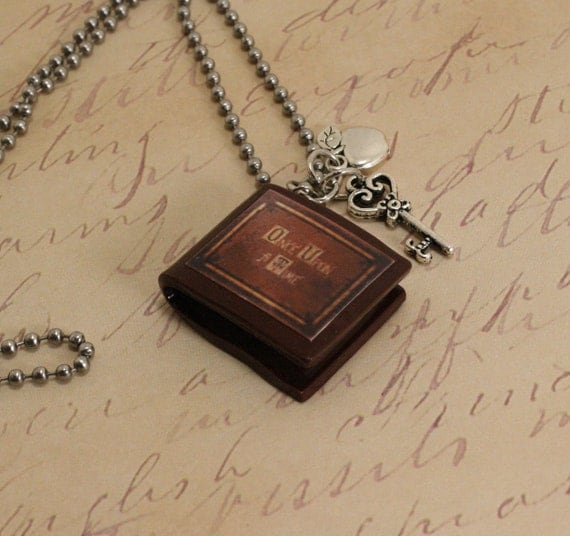 """Once Upon A Time Necklace """"Henry's Book"""" Poison Apple and Queen's Keys"""