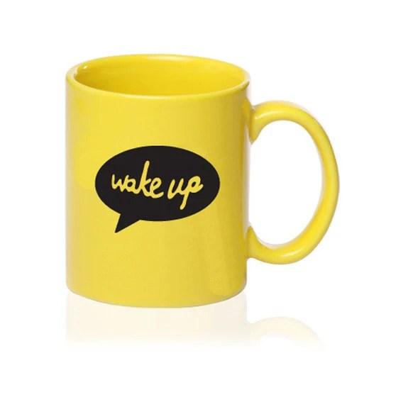 Wake Up - Talking Mug - Yellow - Gift for Coffee Lover - simplyprettyprints