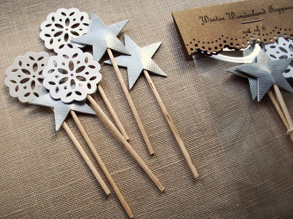 Silver Star and Lace Doily Cake Topper Decorations - Winter Wonderland Cupcake Toppers - JuneToMay
