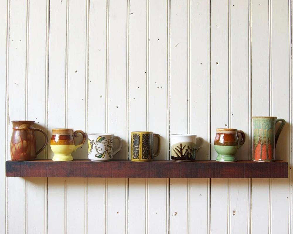 Reclaimed Wood Floating Shelf // Rustic Tropical Hardwood // Large // In Stock - GreenHouseFraming