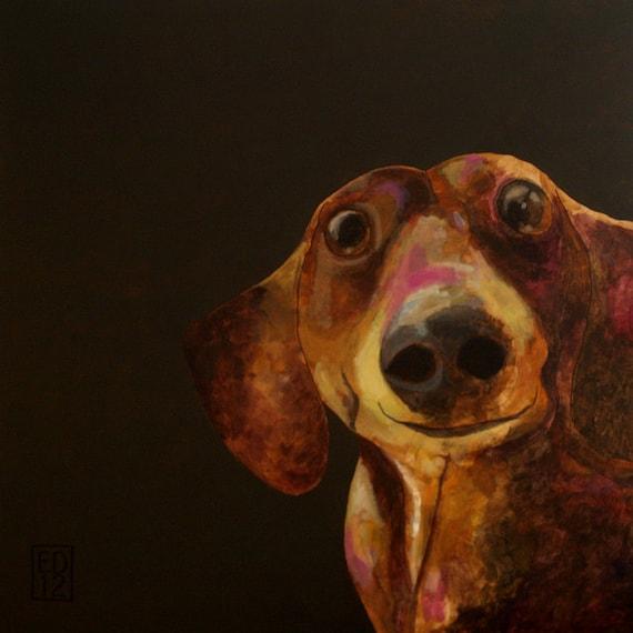 162 - Joep del Giacondo - folded art card - dog dachshund - 15X15cm/6X6inch with envelope