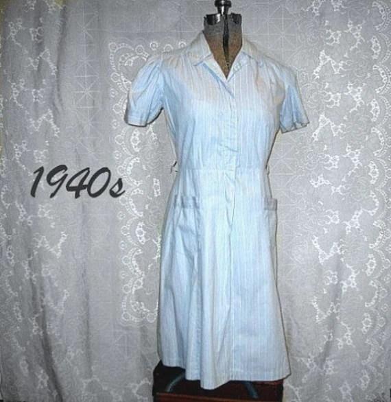 vintage forties 40 summer dress house cotton blue stripes casual plus large size