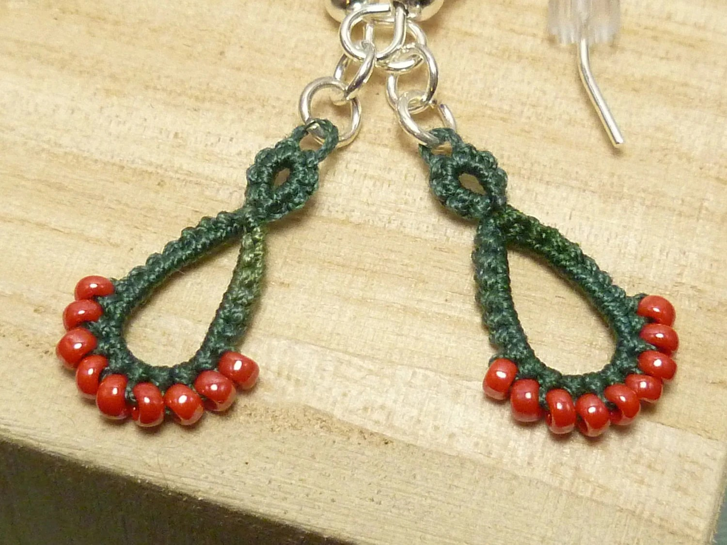 Tatted lace earrings in red and green -DRIPs