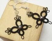 Tatted Butterfly Earrings -PIXIES in black