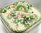 Tatted Fiber Art Catterpillar Inchworm Garden Box -Inch by Inch