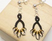 Earrings Black Lace Tatting with gold and silver -Flash Drips