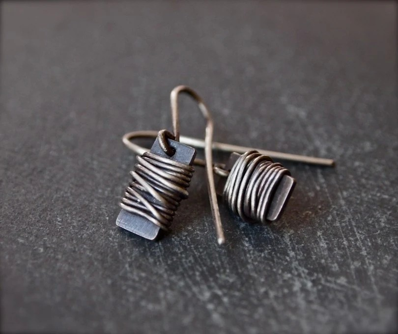 Petite, funky and unique sterling silver wire wrap earrings - AryalAmesJewelry
