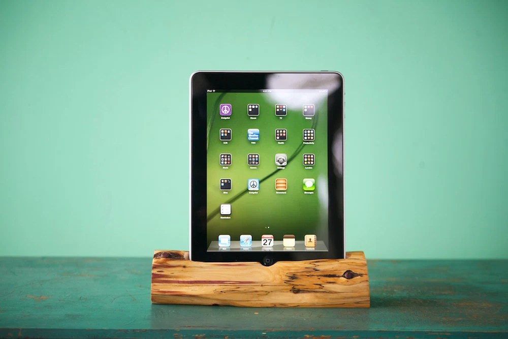 Custom order iPad mini docking station handmade of Cedar by woodtec