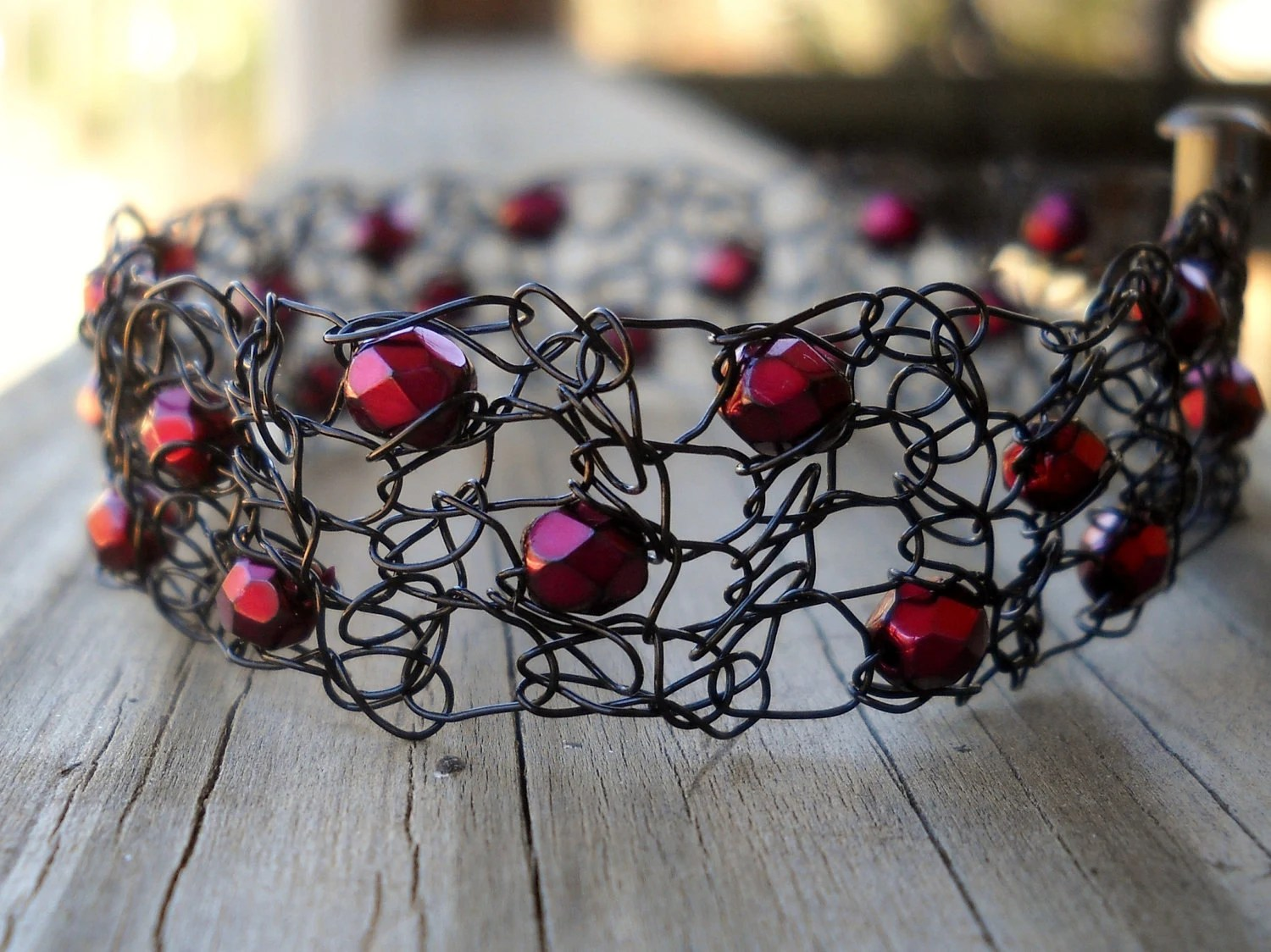 Hot Fiery Red Cinder and Black Wired Crochet Bracelet Crystal Matching Earrings Available - MegsCrochetJewels