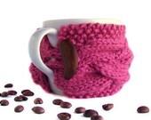 Rose Pink Cup Cozy, Coffee Cozy, Coffee Sleeve, Tea Cup Cozy - Honeysuckle Flower Romantic Girly Bridesmaid - natalya1905