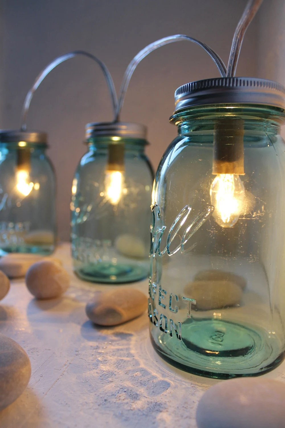Sapphire Mason Jar Lights - Glass Banner Style - Modern Industrial Rustic Farmhouse - Handrcrafted Upcycled BootsNGus Lighting Fixture