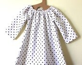 Toddler girl dress for fall with Black and White Frenchie Dots - madeinmommy