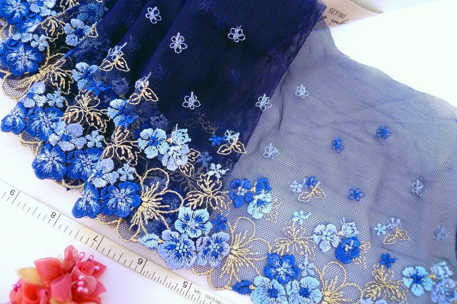 Navy blue lace embroidered floral tulle net trim 2 yards BL085
