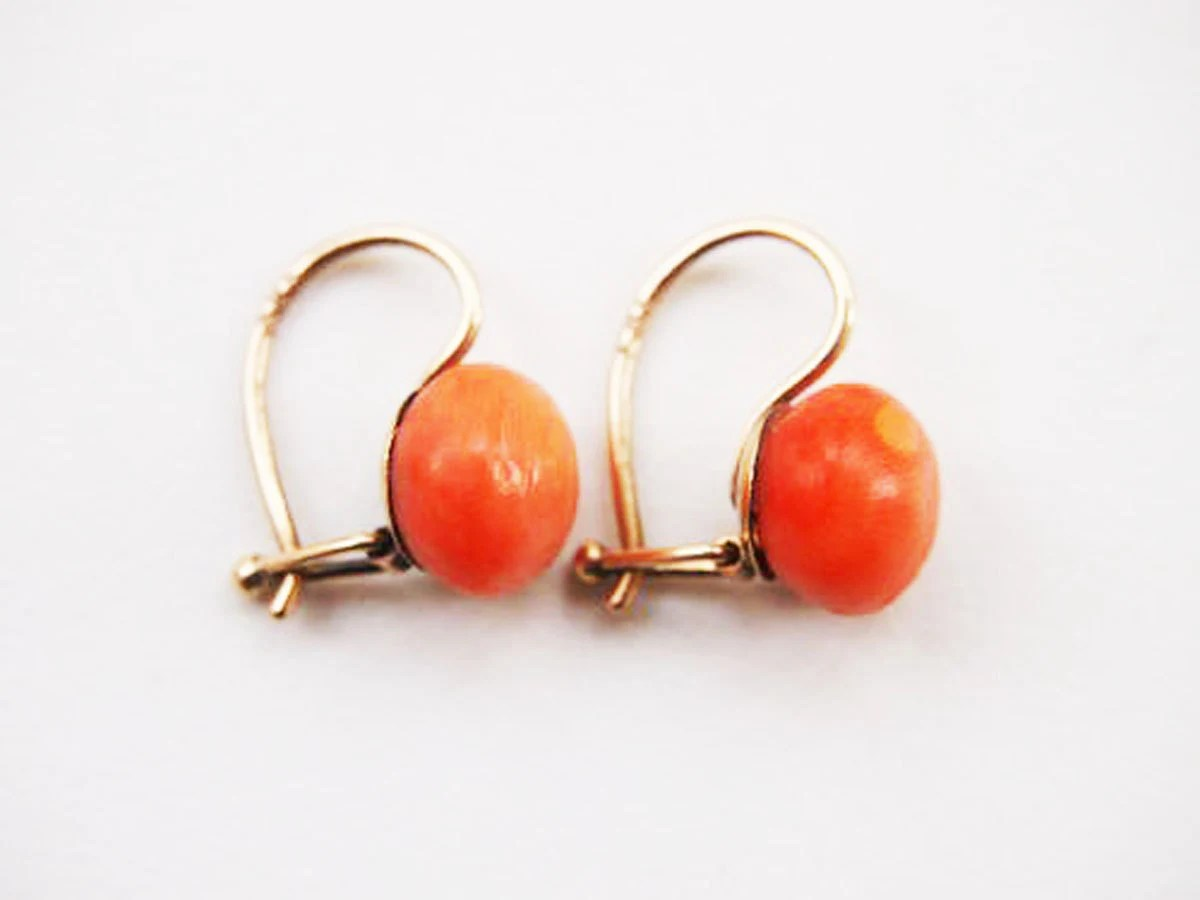 Reserved for Gari  / Perfect Victorian Coral Gold Earrings 14 karat k 1900 Salmon 585 Austrian Antique Vintage Pierced Classic Simple